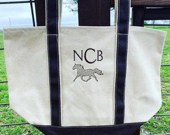 Personalized Horse Canvas Boat Tote