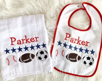 SAMPLE Bib and Burp Cloth Set | Personalized Parker