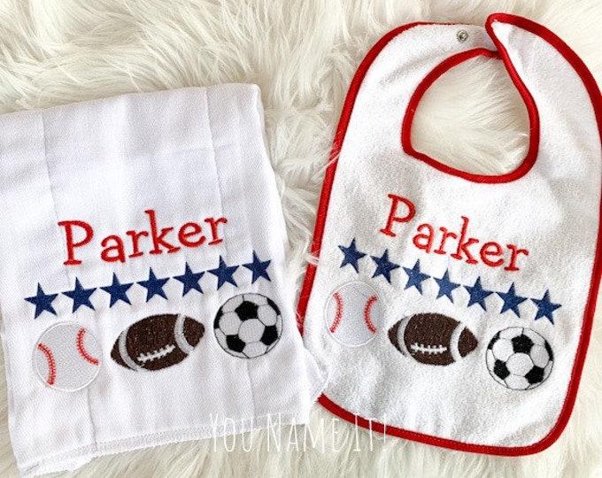 SAMPLE Bib and Burp Cloth Set | Personalized Parker