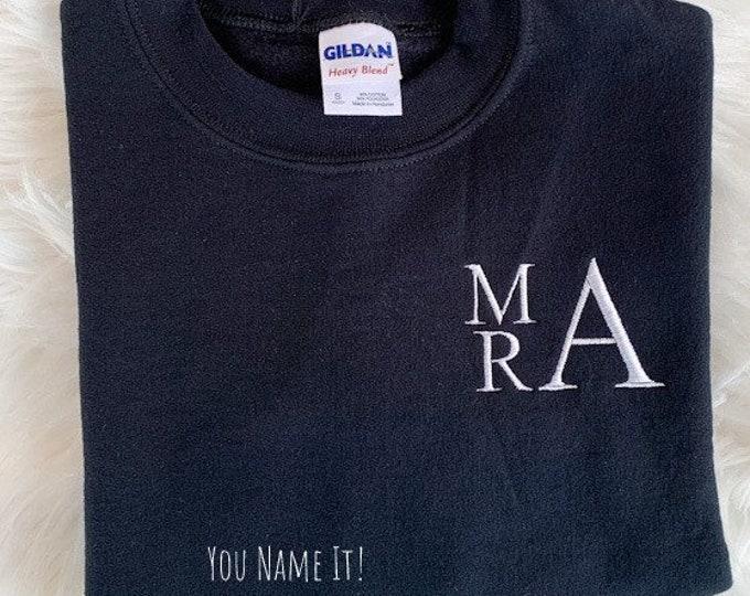 SAMPLE Youth Monogrammed Sweatshirt - Large Small | Monogrammed Initials - MRA