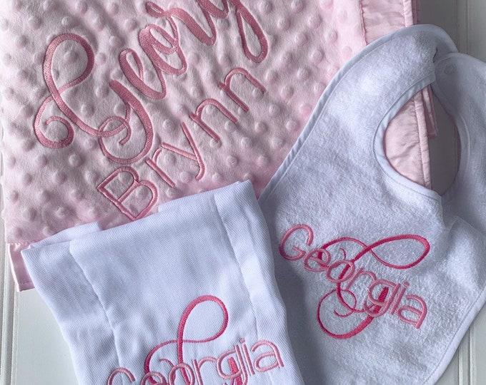 Bib, Burp and Minky Blanket Gift Set