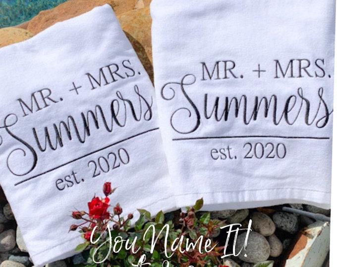 Mr. and Mrs. Last Name Monogrammed Beach Towel | Wedding Beach Towel