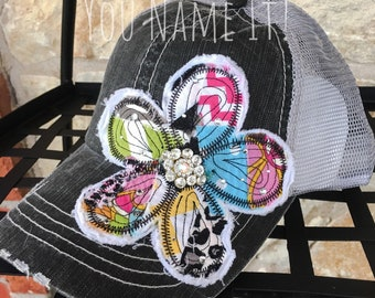 Patchwork Flower Trucker Cap