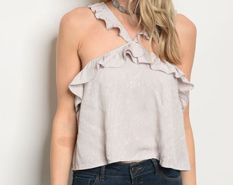 Gray Ruffle Criss Cross Halter Top