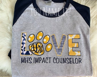 LOVE Pawprint Applique Design