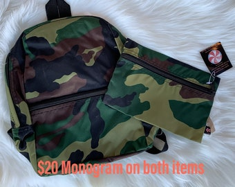 Camo Backpack and Small Zip Travel Bag (by Oh Mint)