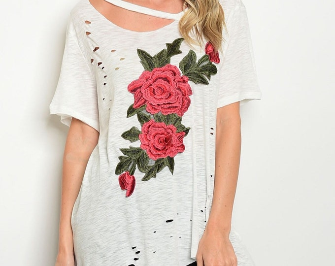 Ivory Distressed Floral Top
