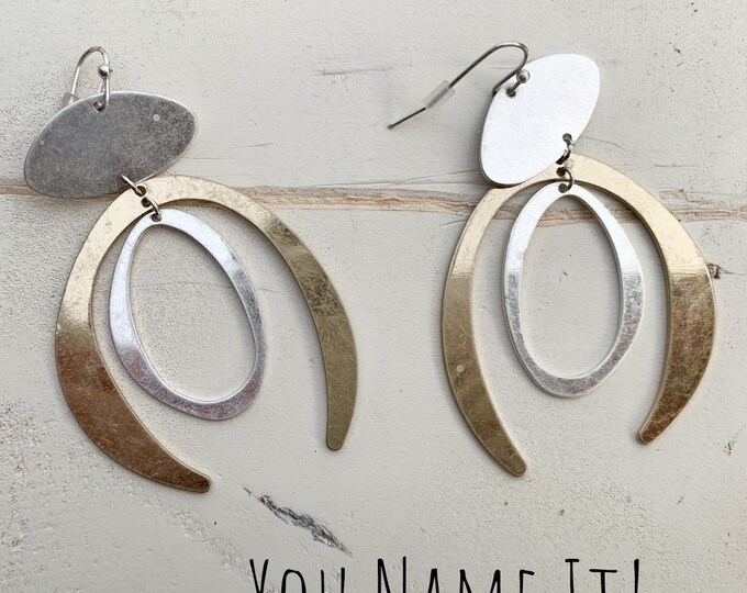 Gold & Silver Tone Wishbone Earrings