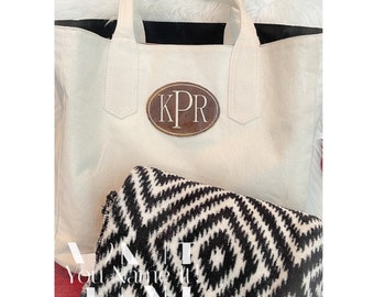 Large Canvas Monogrammed Leather Patch Totebag