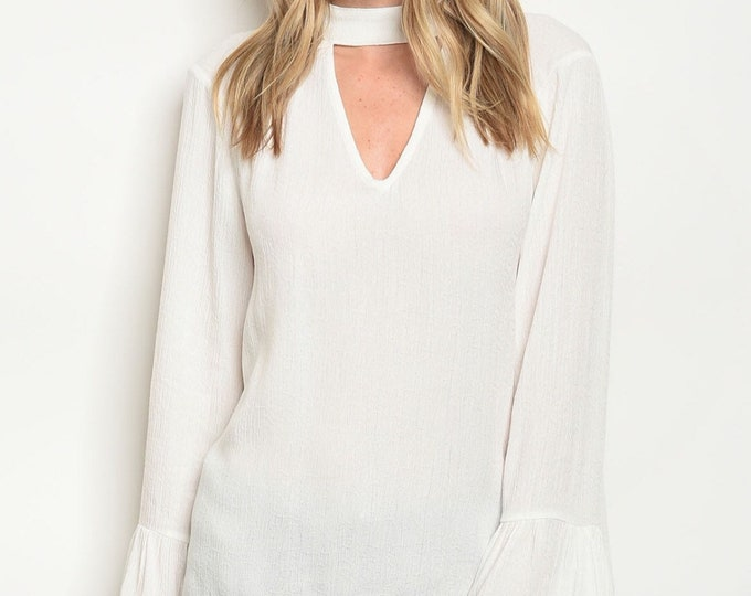 White Back Neck Tie Blouse