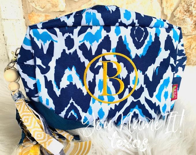 Blue Pattern Cosmetic Bag