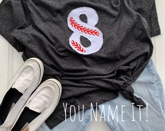 Applique Baseball Number tee