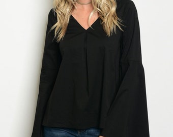 Long Bell Sleeve Black Top