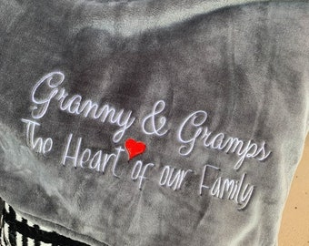 Grandparents Heart of the Family Blanket