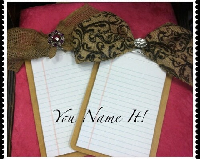 Burlap Ribbon Clipboard/Notepad