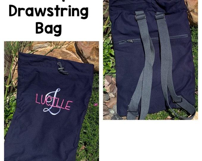 Navy Drawstring Backpack