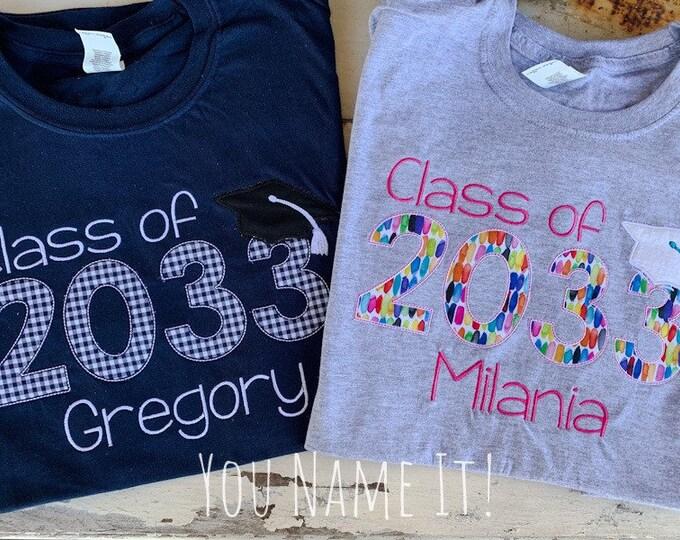 Class of 2033 Tee, Kindergarten Grow with Me Tee