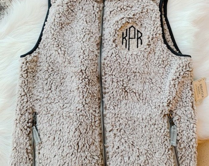 Sherpa Full Zip Monogrammed Vest