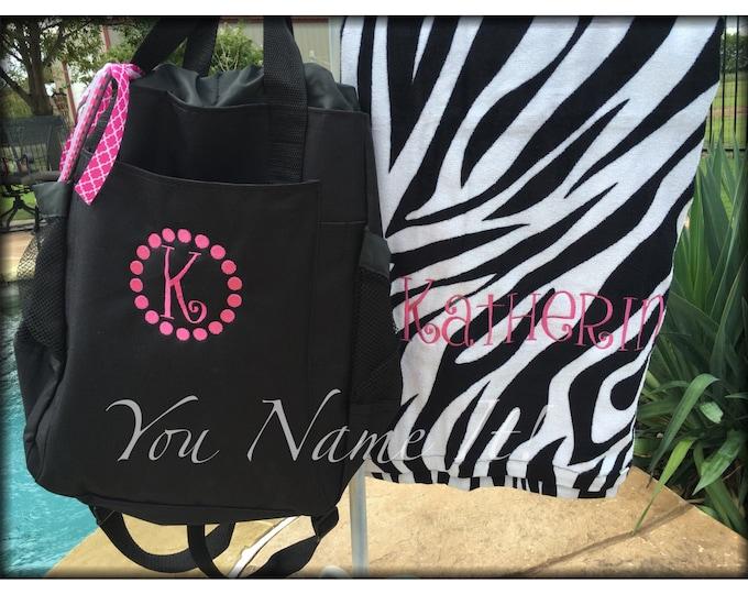 Monogrammed Beach Towel & Tote Combo