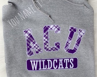 Applique Spirit Tee, Arched School Name, Mascot Patch