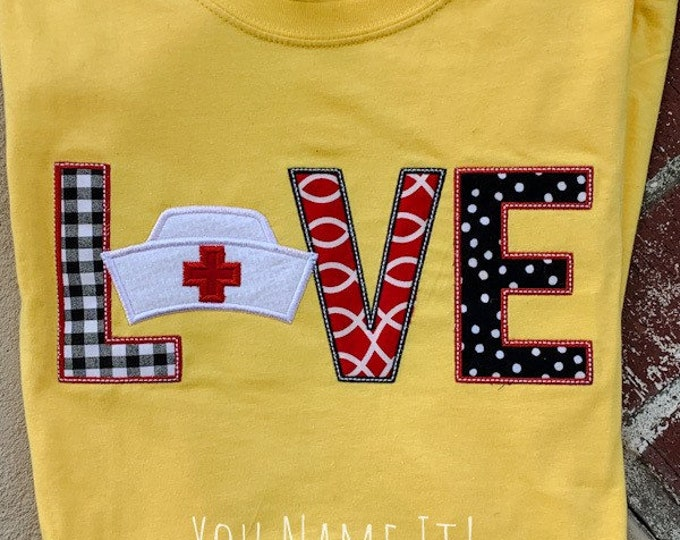 LOVE Nurse Hat Applique Design