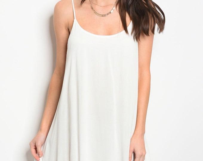 White Back Cross Tie Dress