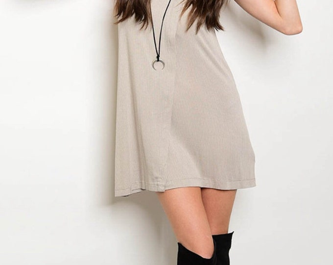 Taupe Mock Neck Ribbed Dress
