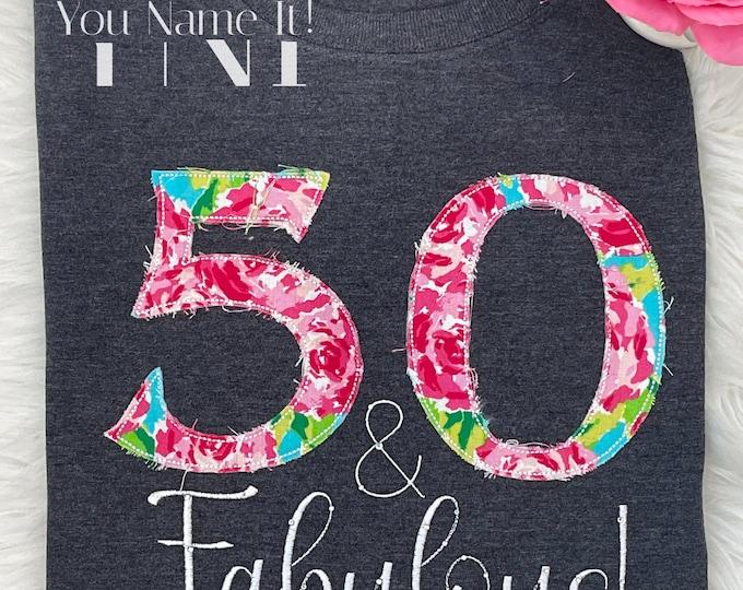 Birthday Applique Tee Shirt (30th, 40th, 50th, 60th, 70th, 80th)