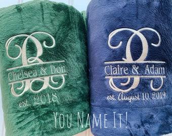 Wedding / Anniversary Last Name Initial Minky Blanket