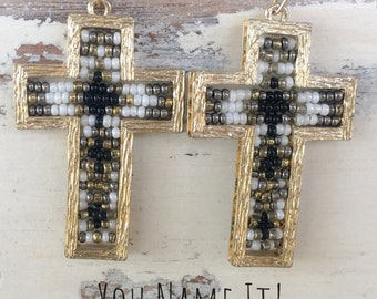 Black Gold & White Cross Earrings
