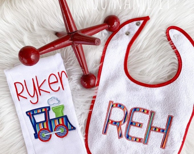 APPLIQUE (Fabric) Bib and Burp Gift Set