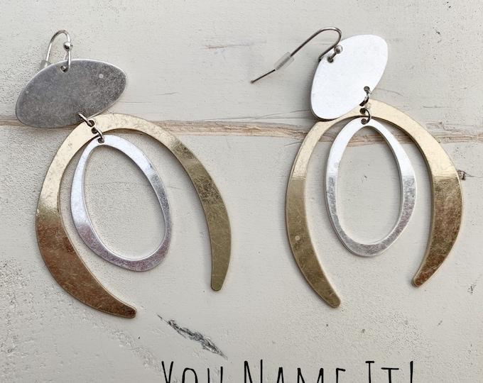 Gold & Silver Tone Wishbone Earrings