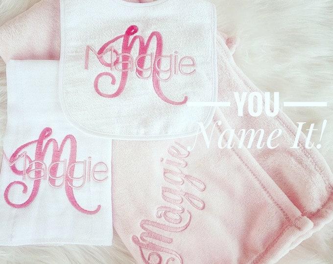 Bib, Burp and Plush Blanket Gift Set