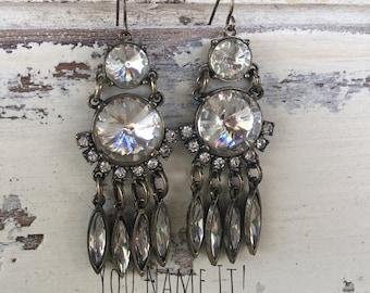 Gold Tone Crystal Dangle Earrings