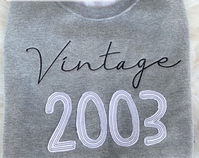 Vintage Applique Design Tee Shirt | Birthday Tee