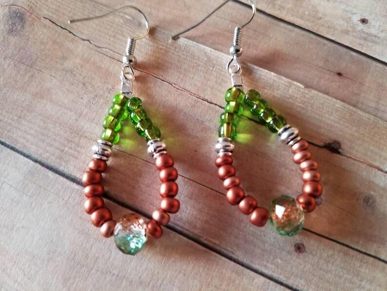 Sale *** Drop Earrings Antique Silver Czech Glass Seed Beads Brown Green