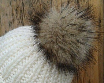 Spare Sable Mink Brown Faux Fur Pom Pom Bobble for hat with press stud.3 Colour ways. Extra long fur. Large Detachable pom pom 45 colours