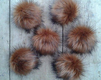 UK made. Spare Bronze Bear Faux Fur pom poms for Hat with press stud. Extra  long Fur. Detachable pom pom 52 colours da2550e5df84