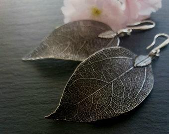 Real Leaf Earrings, Silver Dipped Leaf Earrings, Silver Leaf Earrings, Real Leaf Jewelry