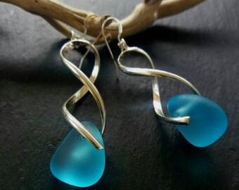 Sea Glass Earrings Sea Glass Jewelry Beach Glass Earrings Mermaid Jewelry Beach Wedding Jewelry Bridesmaid Silver Earrings Beach Glass