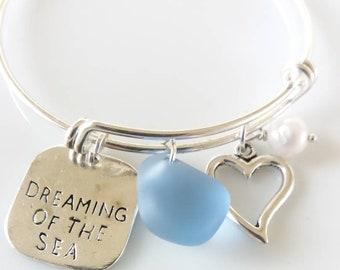 Light Blue Sea glass Bangle Sea Glass Bracelet Beach Wedding Sea Glass Jewelry, Mermaid Tear Bracelet, Sea glass Bracelet, Seaglass Jewelry
