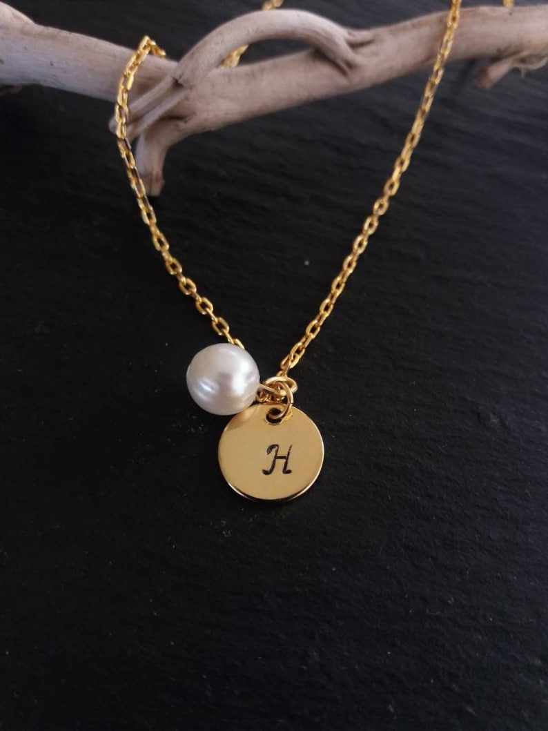 Bridesmaid Gift Gold Initial l Necklace  Pearl Necklace Wedding Jewelry Initial Jewellery
