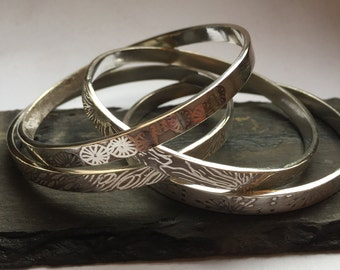 08a0e86fc39 Silver flower etched bangle, floral patterned bangle, hand etched bangle,  heavy silver bangle, rectangular 925 silver bangle, flower bangle