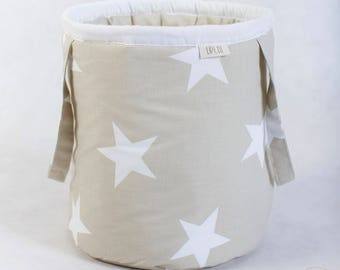 Basket for toys, beige stars /stripes, cotton