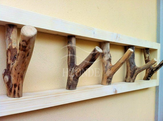 attaccapanni appendiabiti legno rami moderno muro porta accappatoioparete  arredo cappelliera appendino sciarpa zaino idea regalo cappello