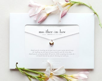 Mother in Law Sterling Silver Heart Necklace Poem Message Card Jewelry Mother-In-Law of the Bride Wedding Bridal Birthday Mother's Day Gift