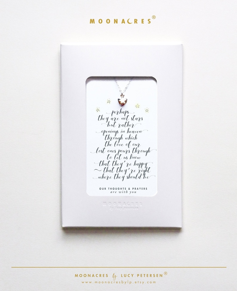 Perhaps They Are Not Stars Sterling Silver Necklace Poem Message Card Jewelry Grievance Grief Condolences Friend Sympathy Gift Box Gift Bag