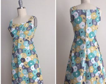 Vintage 60s Ménina Shift Dress   1960s Abstract Floral Print Summer Shift   Cotton Square Neck Tank Dress Made in France Size 40