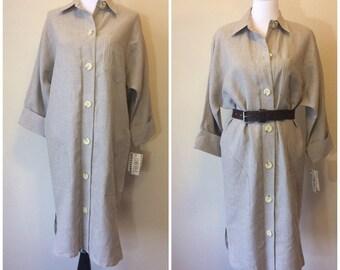 Vintage 80s Linen Lord & Taylor Shirt Dress   1980s Chetta B Oversized Button Down Dress   3/4 Sleeve 100% Linen Beach Vacation Dress Size 8