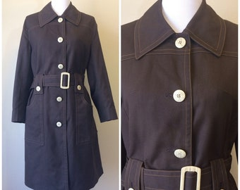 Vintage 60s Misty Harbor Brown Trench Coat   1960s Belted Polyester-Cotton Trench Coat   Single Breasted Contrast Stitch Size 14